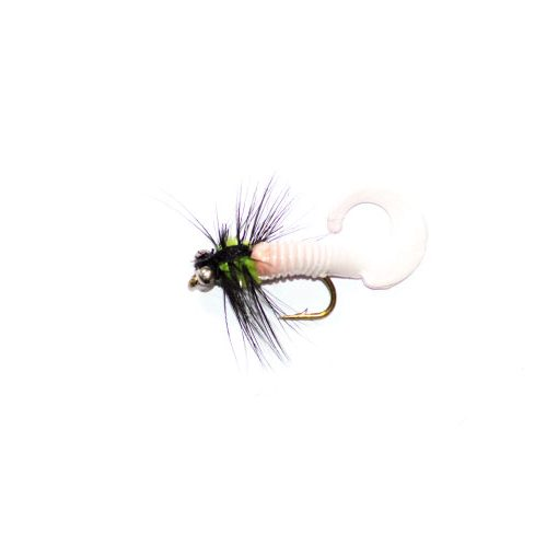 White Waggle Tail Black and Green Lure
