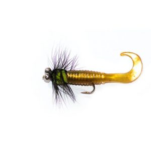 Yellow Waggle Tail Black and Green Lure