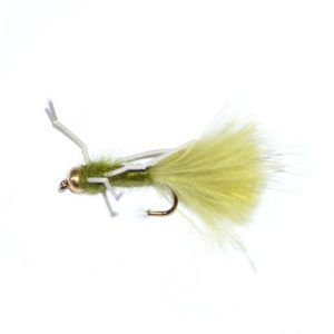 Damsel Fly Light Olive Rubber Legs Goldhead