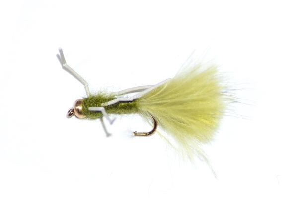 Damsel Fly Light Olive Rubber Legs Goldhead