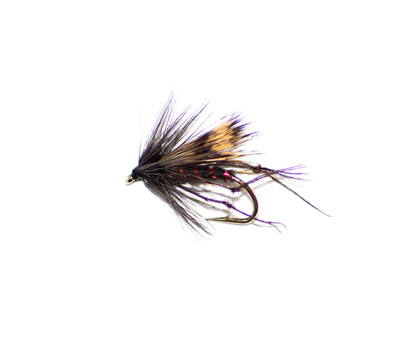 6 x HOPPER HALF HOG BLACK /& SILVER DRY FISHING FLIES SIZE 12 STUNNING QUALITY