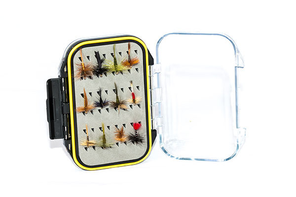 Waterproof Acrylic Fly Box ( holds 96 standard flies) With 24 Dry Flies
