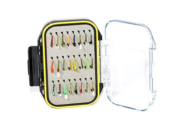 Waterproof Acrylic Fly Box ( holds 96 standard flies) With 24 Epoxy Buzzers