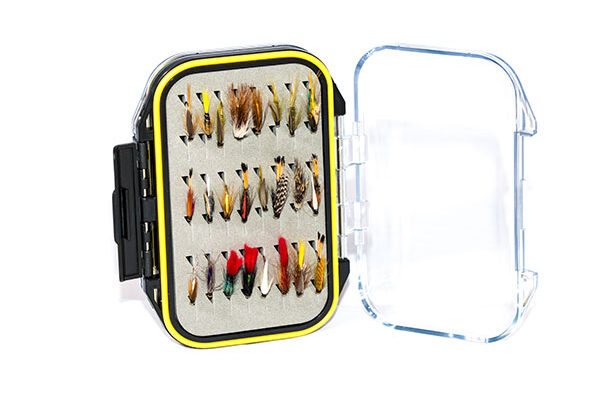 Waterproof Acrylic Fly Box ( holds 96 standard flies) With 48 Wet Flies