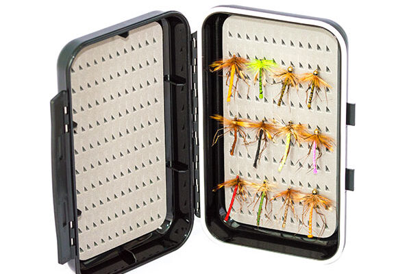 Waterproof ABS Plastic Moulded Fly Box ( holds 240 standard flies) with 12 x Daddy Long Legs