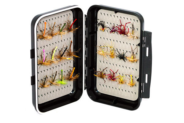 Waterproof ABS Plastic Moulded Fly Box ( holds 240 standard flies) with 24 x Daddy Long Legs
