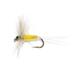 Badger & yellow dry fly