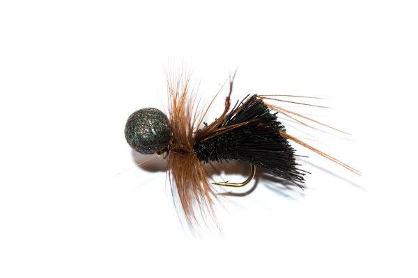 Black Deer Hair Sedge Hopper Brown Hackle Booby Head